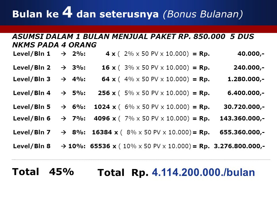 Bulan ke 4 dan seterusnya (Bonus Bulanan) ASUMSI DALAM 1 BULAN MENJUAL PAKET RP. 850.000 5 DUS NKMS PADA 4 ORANG