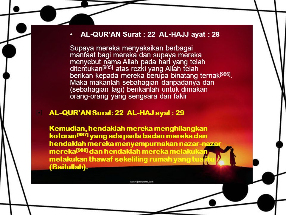 AL-QUR'AN Surat : 22 AL-HAJJ ayat : 28