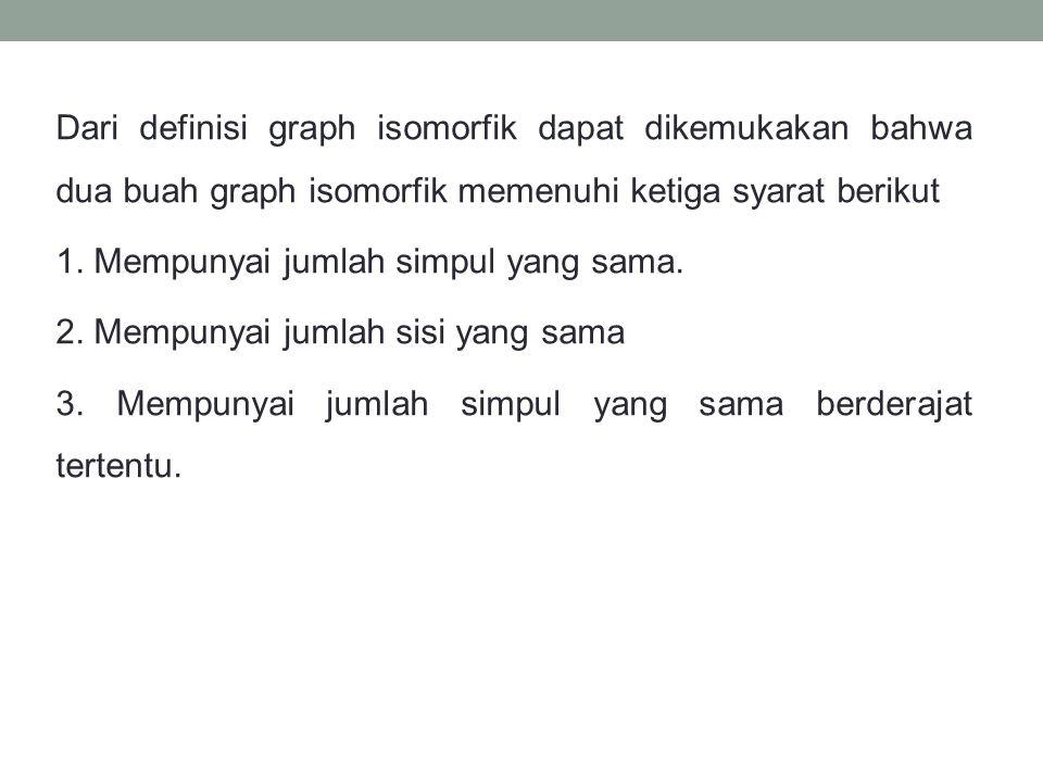Dari definisi graph isomorfik dapat dikemukakan bahwa dua buah graph isomorfik memenuhi ketiga syarat berikut