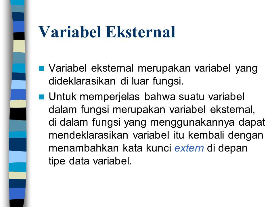 Variabel Eksternal Variabel eksternal merupakan variabel yang dideklarasikan di luar fungsi.