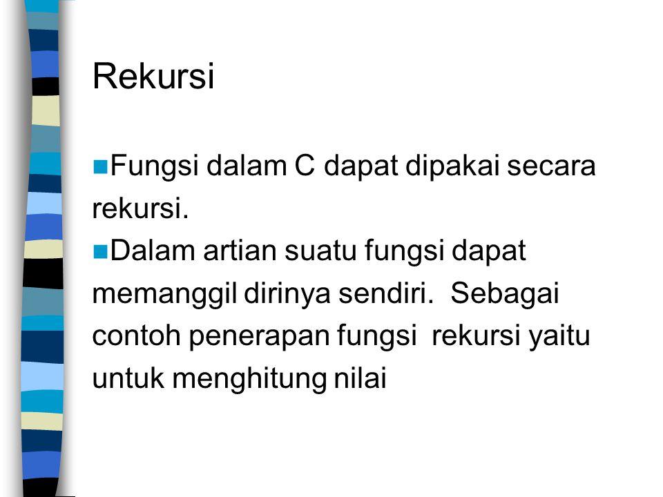 Rekursi Fungsi dalam C dapat dipakai secara rekursi.