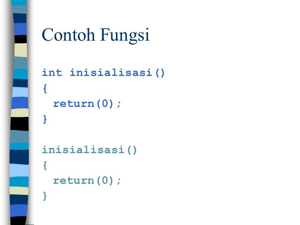 Contoh Fungsi int inisialisasi() { return(0); } inisialisasi()