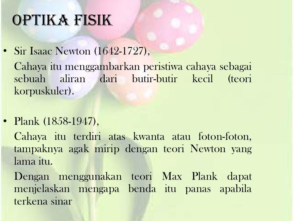 Optika Fisik Sir Isaac Newton (1642-1727),