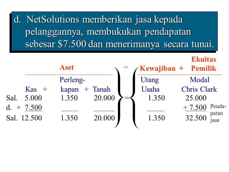 d. NetSolutions memberikan jasa kepada pelanggannya, membukukan pendapatan sebesar $7.500 dan menerimanya secara tunai.