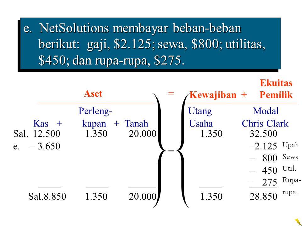 e. NetSolutions membayar beban-beban berikut: gaji, $2