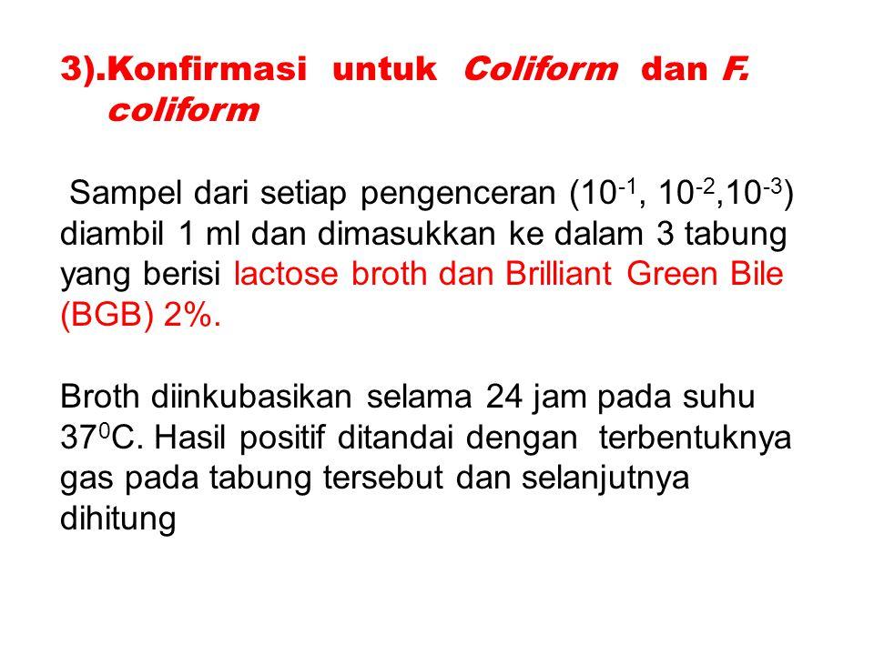 3).Konfirmasi untuk Coliform dan F.