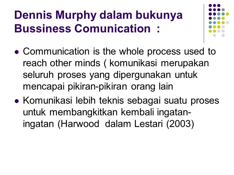 Dennis Murphy dalam bukunya Bussiness Comunication :