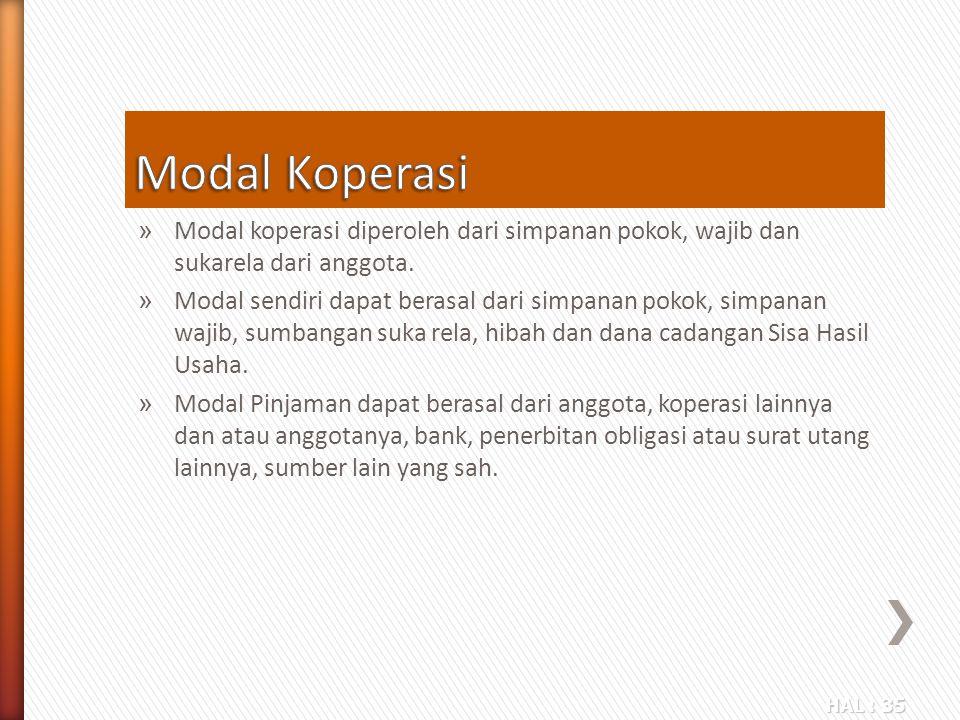 Modal Koperasi Modal koperasi diperoleh dari simpanan pokok, wajib dan sukarela dari anggota.