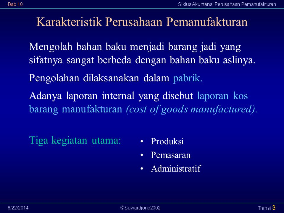 Karakteristik Perusahaan Pemanufakturan