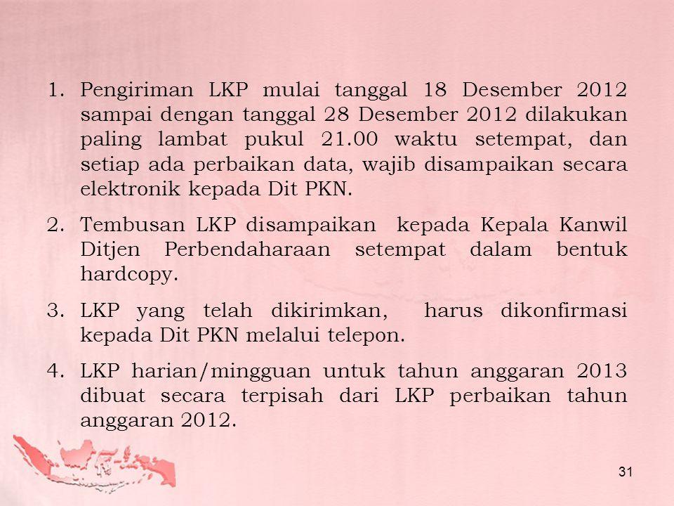 Pengiriman LKP mulai tanggal 18 Desember 2012 sampai dengan tanggal 28 Desember 2012 dilakukan paling lambat pukul 21.00 waktu setempat, dan setiap ada perbaikan data, wajib disampaikan secara elektronik kepada Dit PKN.
