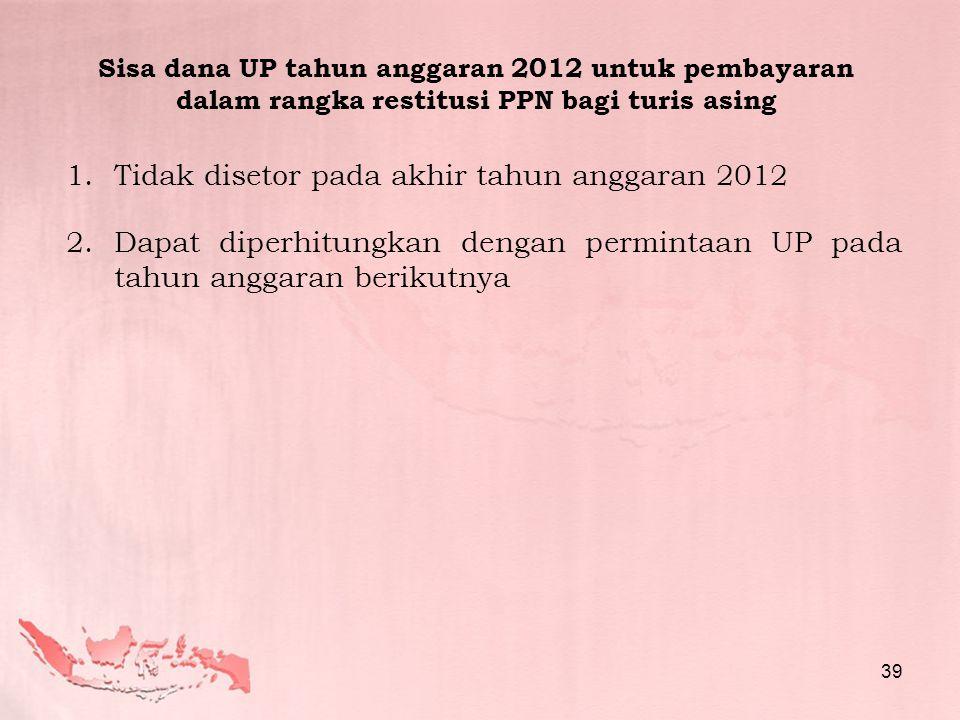 Tidak disetor pada akhir tahun anggaran 2012