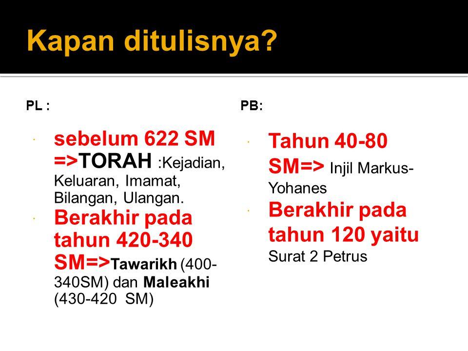 Kapan ditulisnya PL : PB: sebelum 622 SM =>TORAH :Kejadian, Keluaran, Imamat, Bilangan, Ulangan.