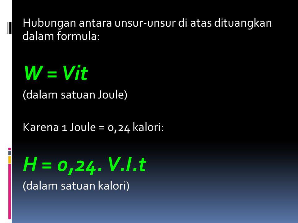 Hubungan antara unsur-unsur di atas dituangkan dalam formula: