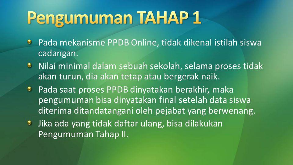 Pengumuman TAHAP 1 Pada mekanisme PPDB Online, tidak dikenal istilah siswa cadangan.