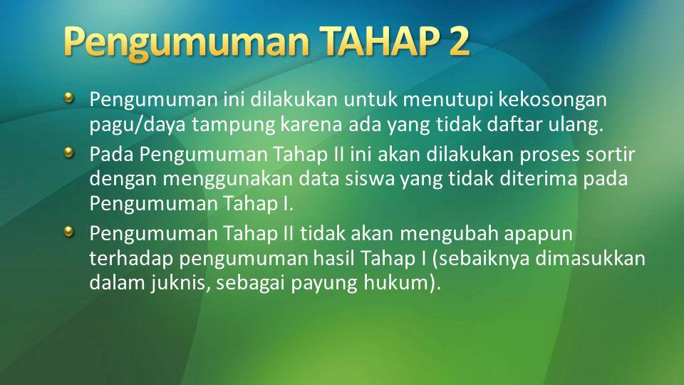 Pengumuman TAHAP 2 Pengumuman ini dilakukan untuk menutupi kekosongan pagu/daya tampung karena ada yang tidak daftar ulang.