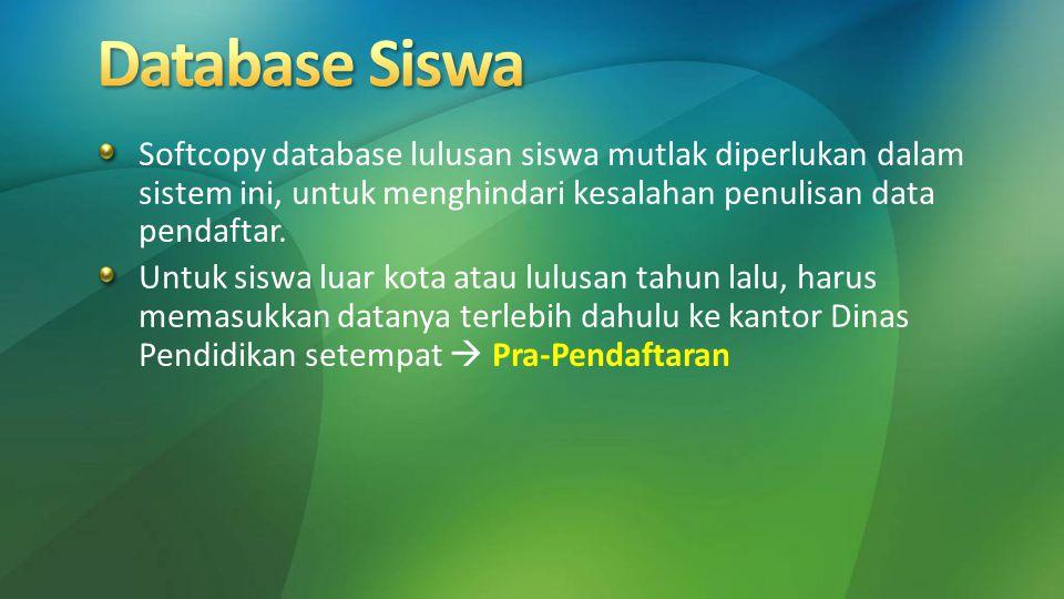 Database Siswa Softcopy database lulusan siswa mutlak diperlukan dalam sistem ini, untuk menghindari kesalahan penulisan data pendaftar.
