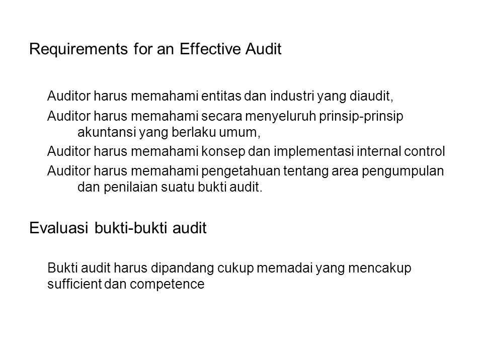 Requirements for an Effective Audit