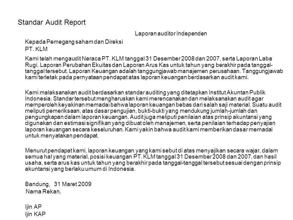 Laporan auditor Independen