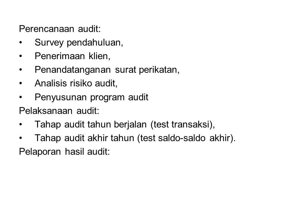 Perencanaan audit: Survey pendahuluan, Penerimaan klien, Penandatanganan surat perikatan, Analisis risiko audit,