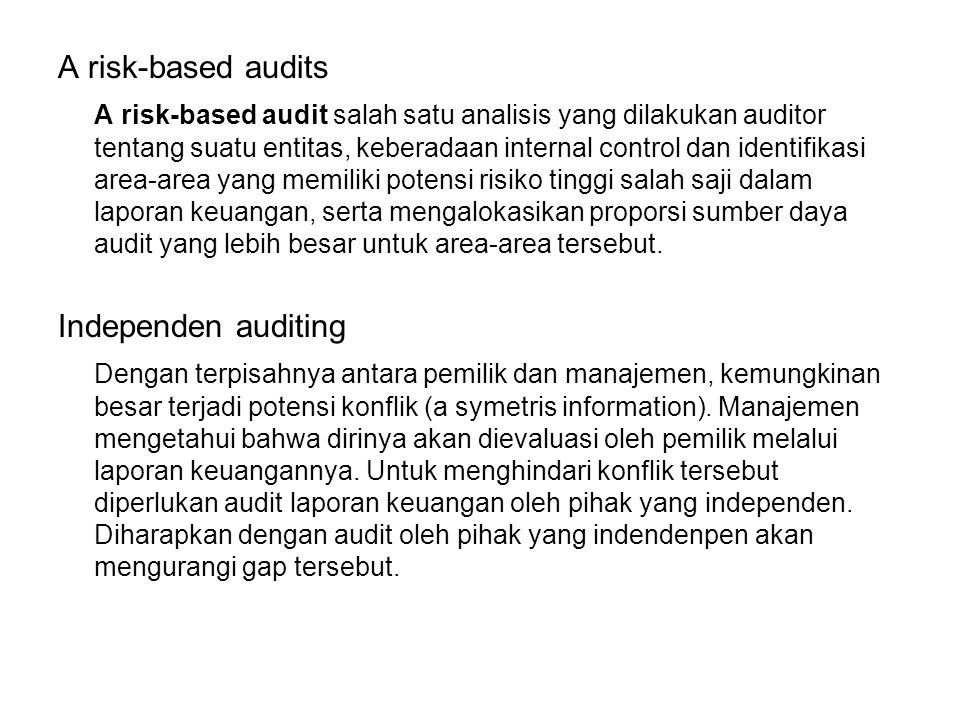 A risk-based audits