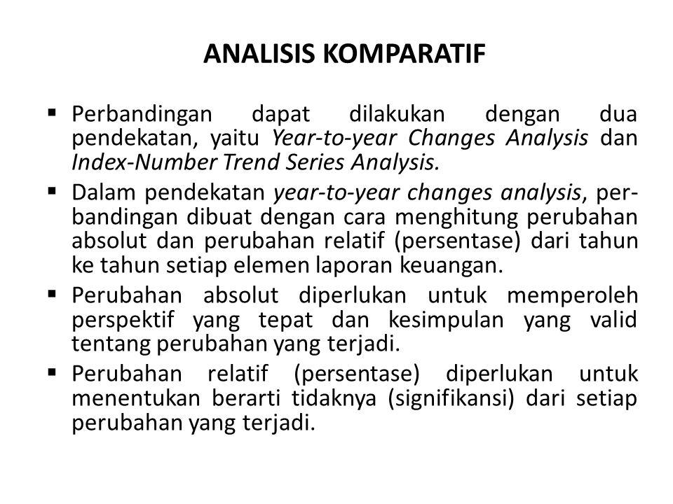 ANALISIS KOMPARATIF Perbandingan dapat dilakukan dengan dua pendekatan, yaitu Year-to-year Changes Analysis dan Index-Number Trend Series Analysis.