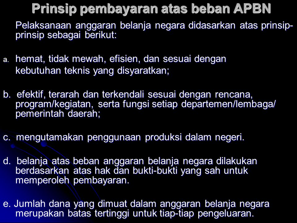 Prinsip pembayaran atas beban APBN