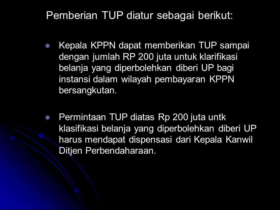Pemberian TUP diatur sebagai berikut: