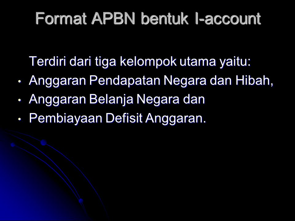 Format APBN bentuk I-account
