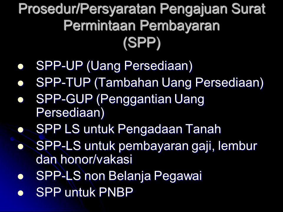 Prosedur/Persyaratan Pengajuan Surat Permintaan Pembayaran (SPP)