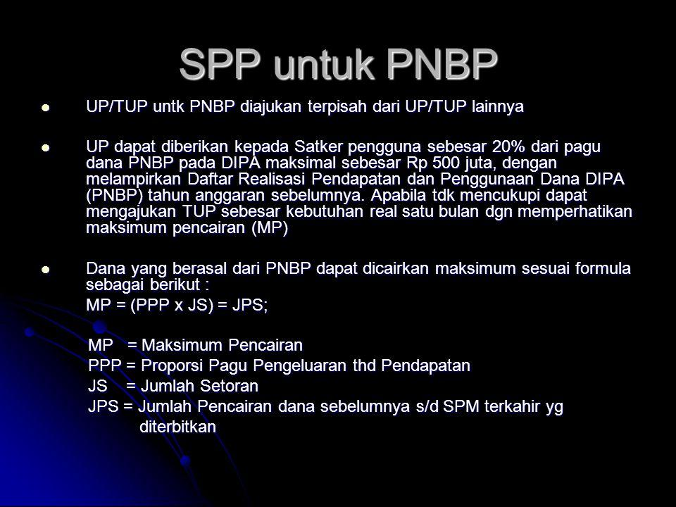 SPP untuk PNBP UP/TUP untk PNBP diajukan terpisah dari UP/TUP lainnya
