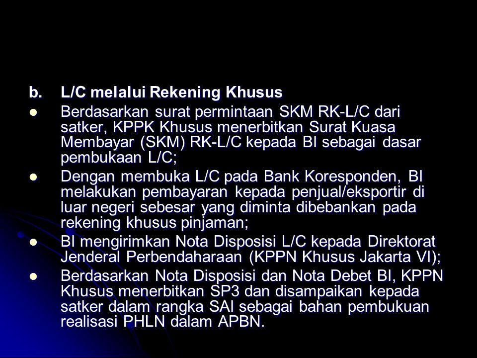 b. L/C melalui Rekening Khusus