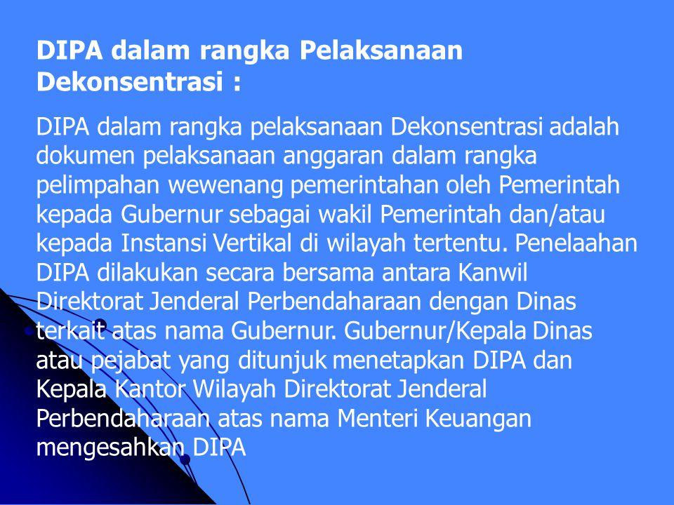 DIPA dalam rangka Pelaksanaan Dekonsentrasi :