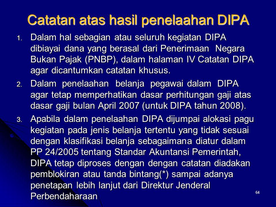 Catatan atas hasil penelaahan DIPA