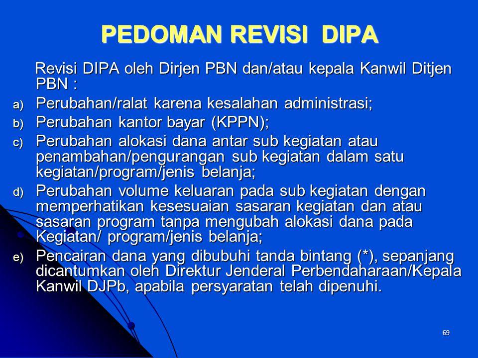PEDOMAN REVISI DIPA Revisi DIPA oleh Dirjen PBN dan/atau kepala Kanwil Ditjen PBN : Perubahan/ralat karena kesalahan administrasi;