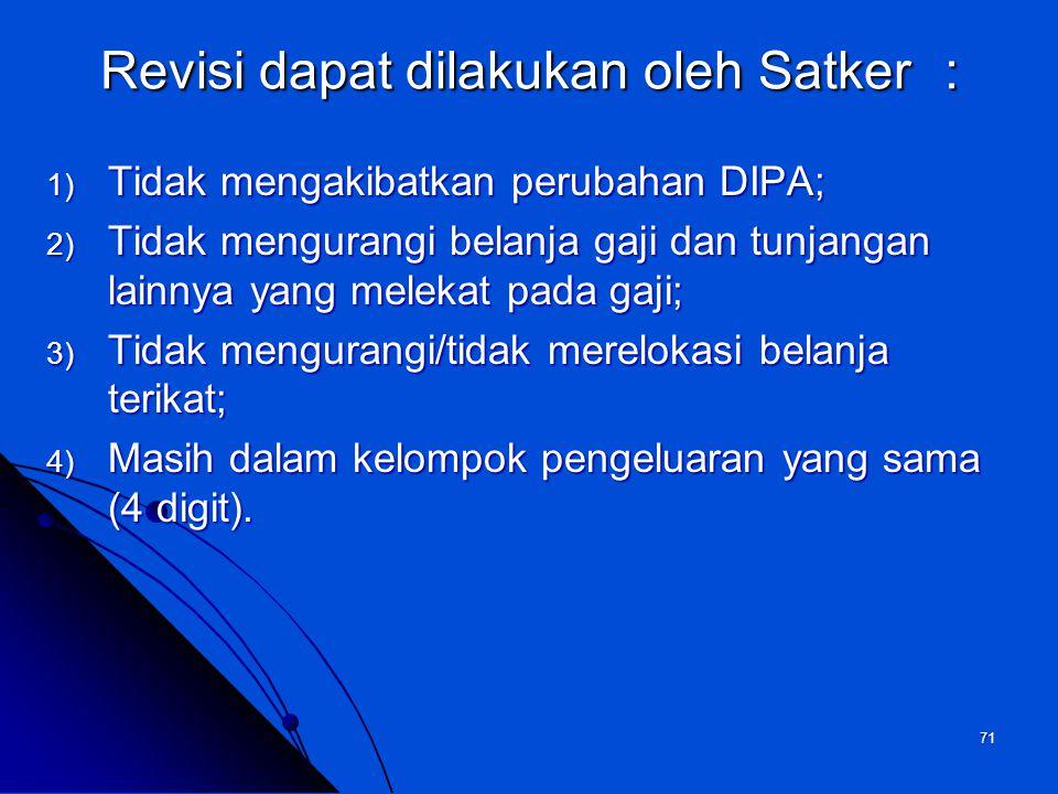 Revisi dapat dilakukan oleh Satker :