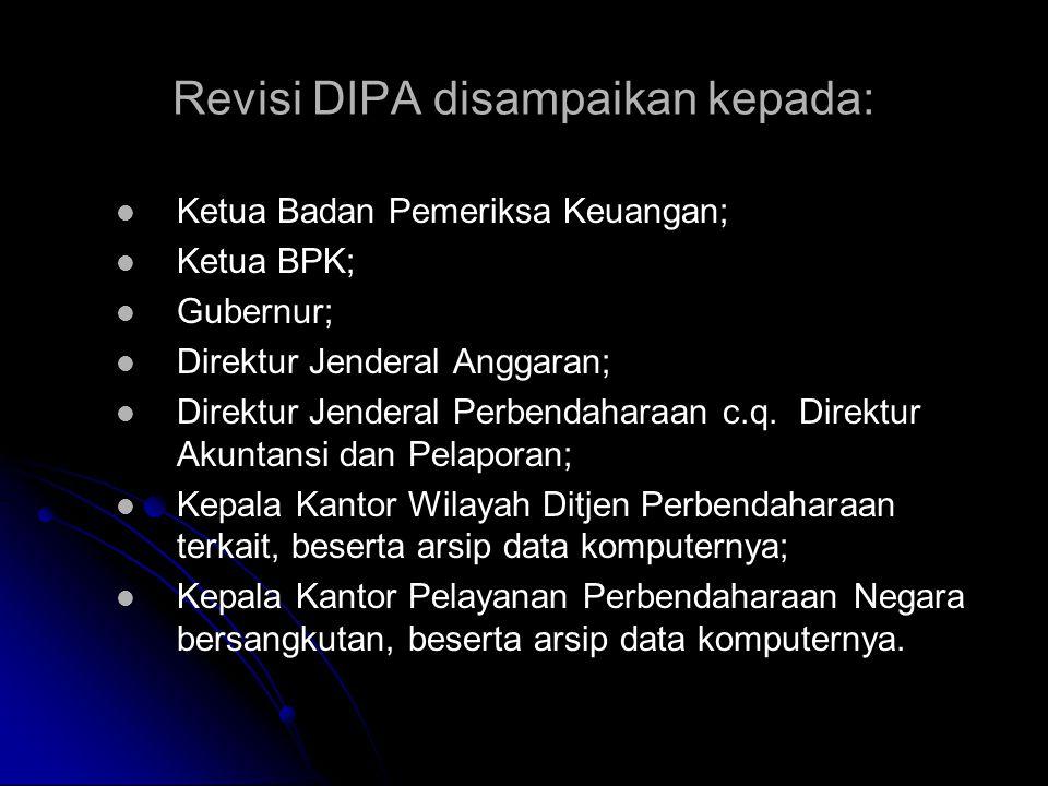 Revisi DIPA disampaikan kepada:
