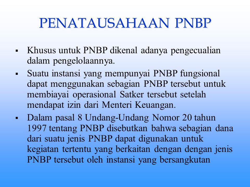 PENATAUSAHAAN PNBP Khusus untuk PNBP dikenal adanya pengecualian dalam pengelolaannya.