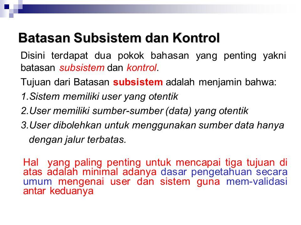 Batasan Subsistem dan Kontrol