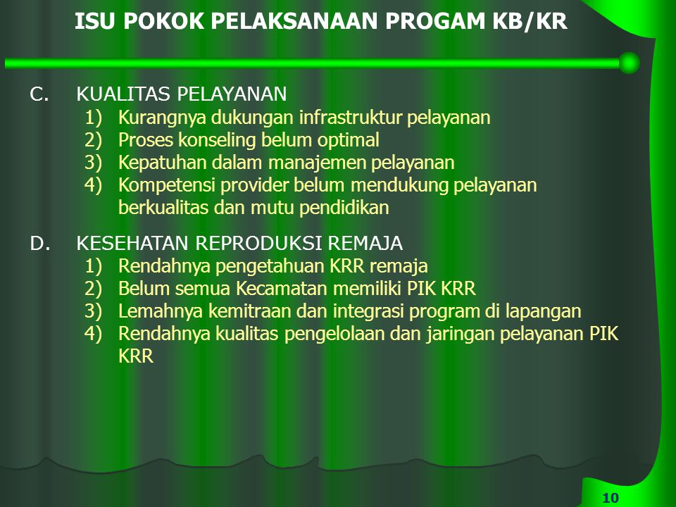 ISU POKOK PELAKSANAAN PROGAM KB/KR