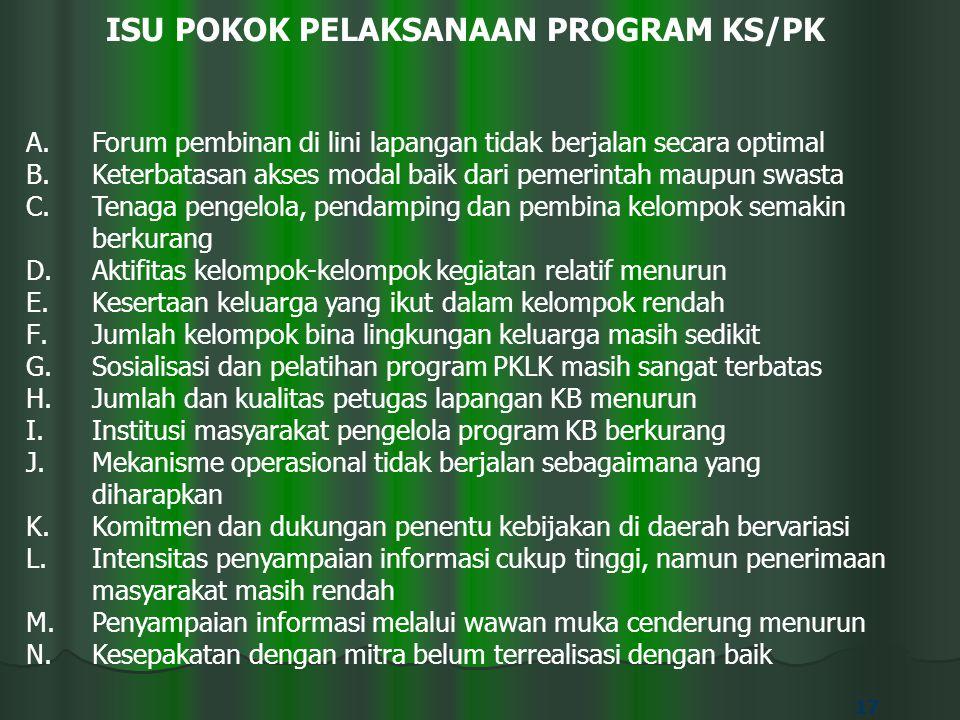 ISU POKOK PELAKSANAAN PROGRAM KS/PK