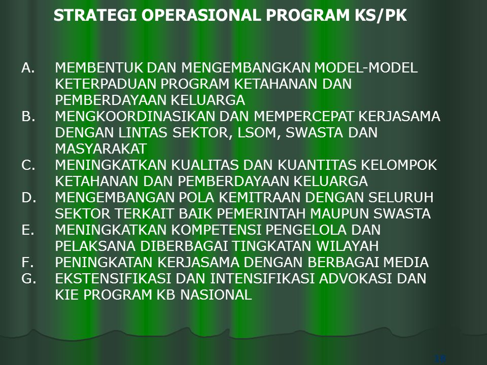 STRATEGI OPERASIONAL PROGRAM KS/PK