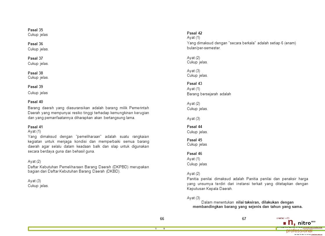 ■ n, nitro professional Pasal 35 Cukup jelas. Pasal 36 Pasal 37