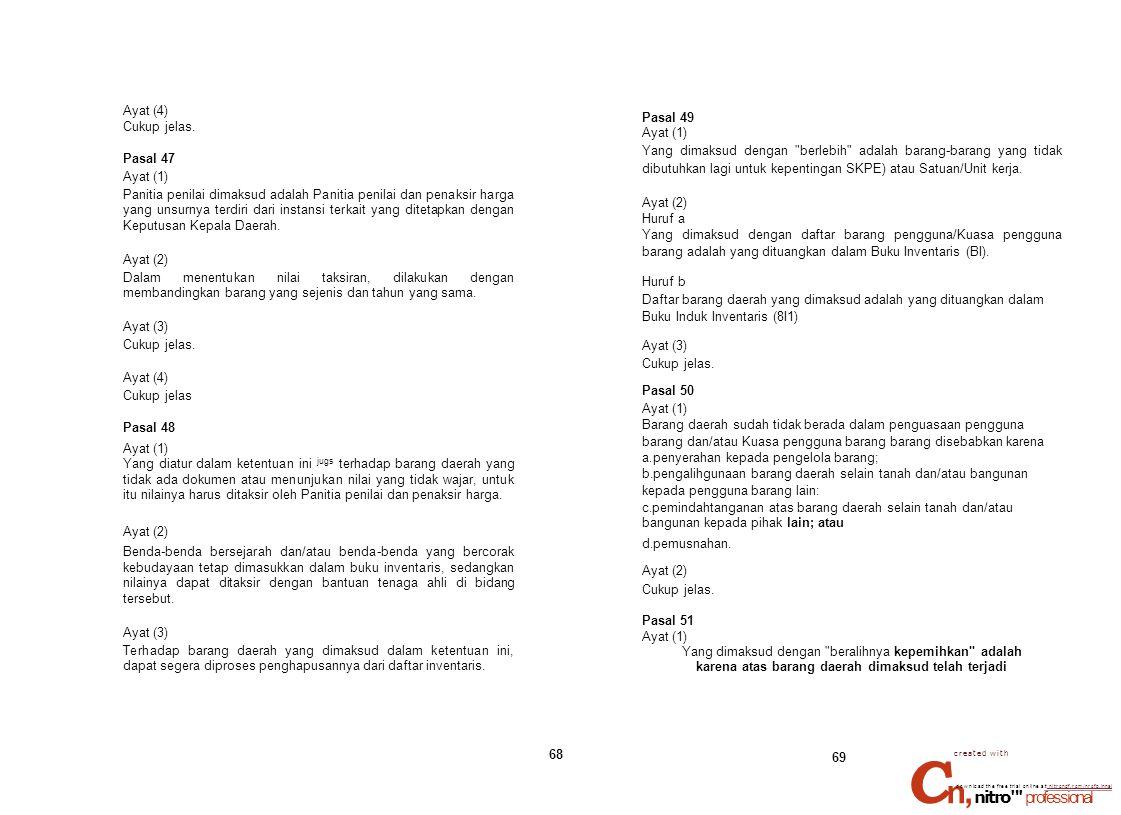 Cn, nitro professional Ayat (4) Cukup jelas. Pasal 47 Ayat (1)