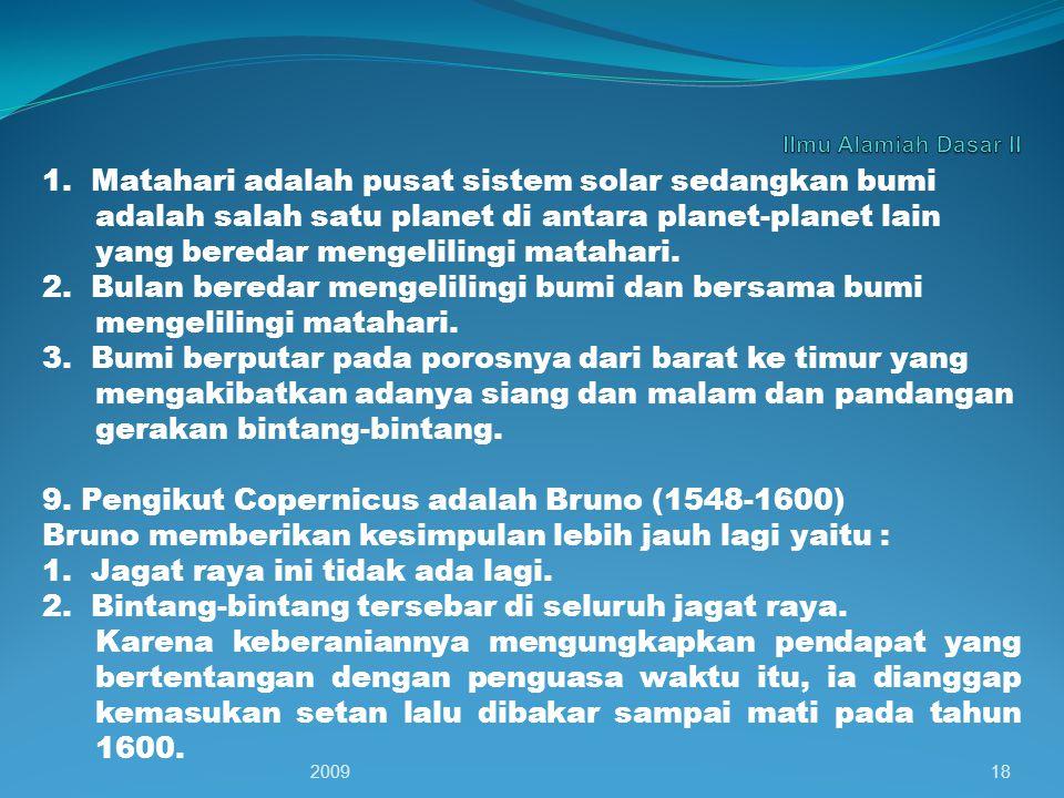 9. Pengikut Copernicus adalah Bruno (1548-1600)