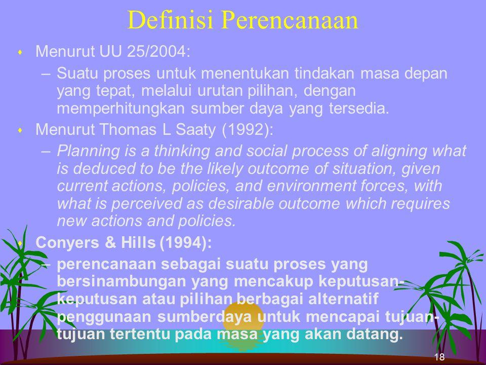 Definisi Perencanaan Menurut UU 25/2004: