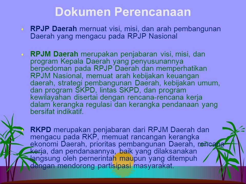 Dokumen Perencanaan RPJP Daerah mernuat visi, misi, dan arah pembangunan Daerah yang mengacu pada RPJP Nasional.