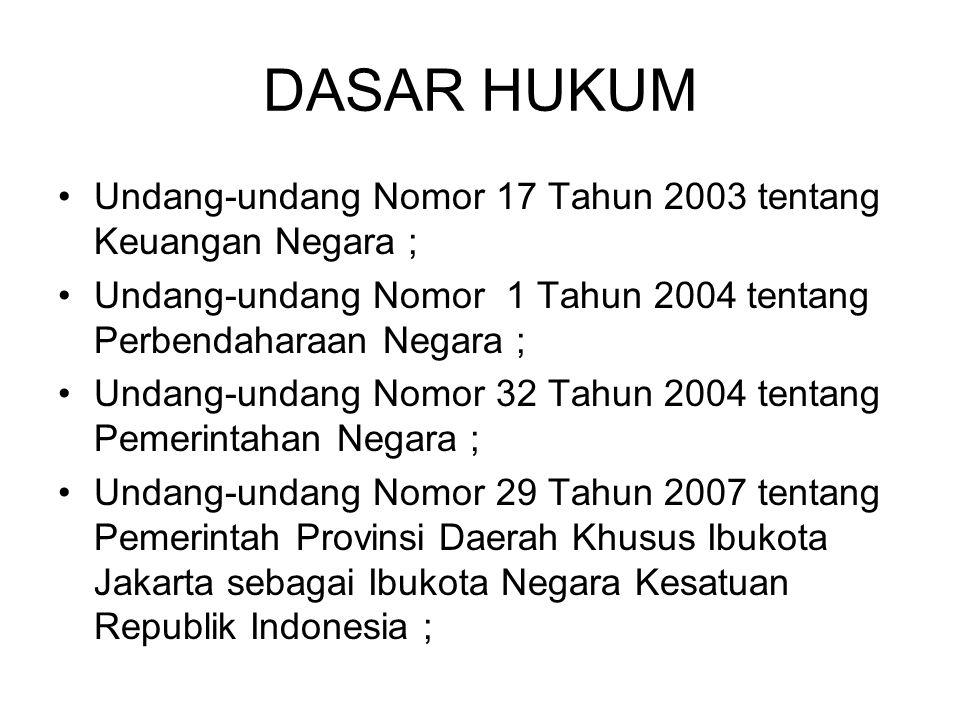 DASAR HUKUM Undang-undang Nomor 17 Tahun 2003 tentang Keuangan Negara ; Undang-undang Nomor 1 Tahun 2004 tentang Perbendaharaan Negara ;