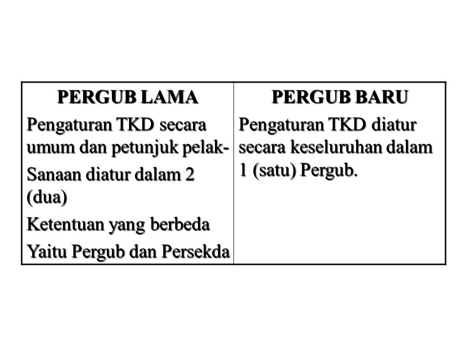PERGUB LAMA Pengaturan TKD secara umum dan petunjuk pelak- Sanaan diatur dalam 2 (dua) Ketentuan yang berbeda.