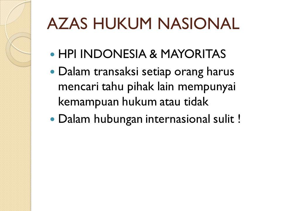 AZAS HUKUM NASIONAL HPI INDONESIA & MAYORITAS