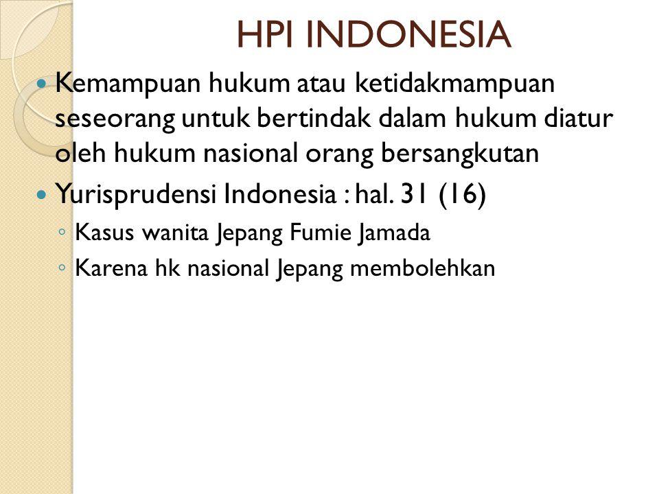 HPI INDONESIA Kemampuan hukum atau ketidakmampuan seseorang untuk bertindak dalam hukum diatur oleh hukum nasional orang bersangkutan.